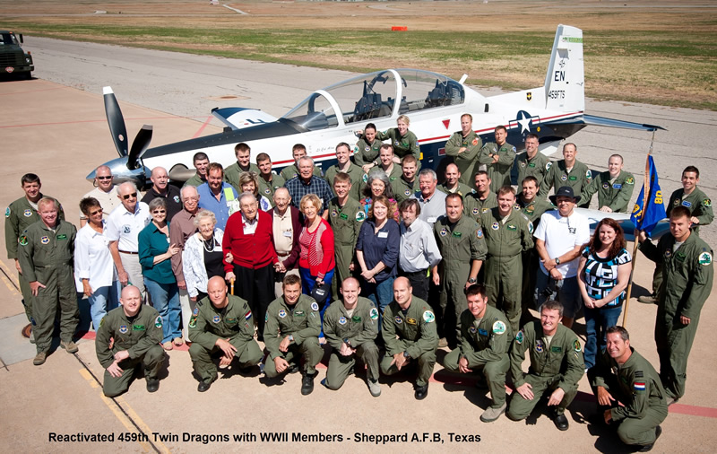 2011 JeanField with Reactivated 459th Twin Dragons and WWII Members - Sheppard A.F.B, Texas